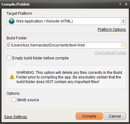 compile publish visualneo web
