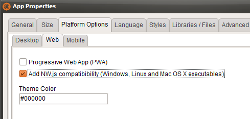 Compile to NW.js option in VisualNEO Web